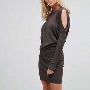 ALL SAINTS dark gray cold shoulder dress